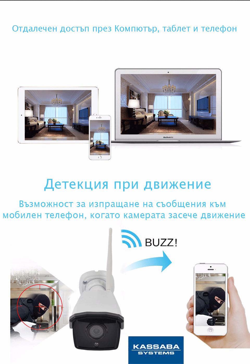 Комплект за видеонаблюдение с отдалечен достъп и детекция